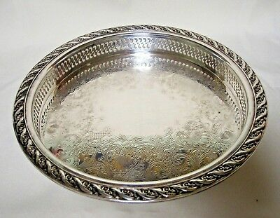 """WM Rogers & Son Silver Plate Spring Flower 9 1/2"""" Serving Tray #2070"""