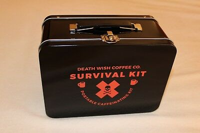 DEATH WISH COFFEE lunch box pail NEW Hearse Halloween goth SKULL skeleton