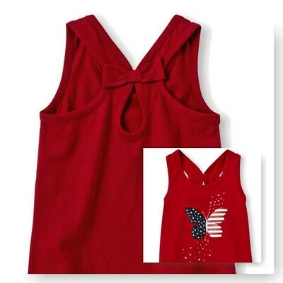The Children's Place Baby Girl Top Sleeveless Racer Back Bow Americana Butterfly