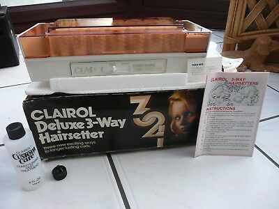 Clairol Deluxe 3-Way Hairsetter Conditioning Electric Heated Rollers & Clips Vgc