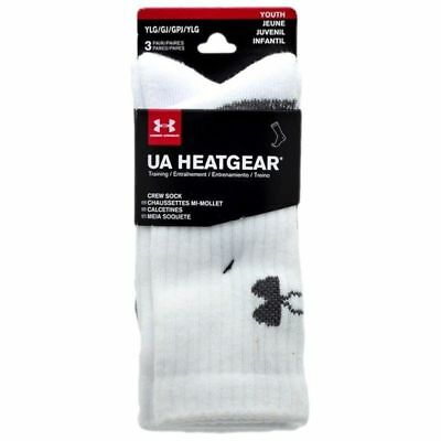 NEW!! Under Armour Boy's UA HeatGear Crew White Socks 3-Pack Sz Medium