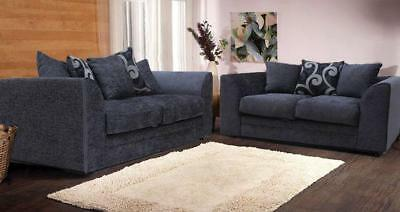 New Dylo Fabric Chenille 3seater+2seater seater Sofa Black/Grey/Aubergine color