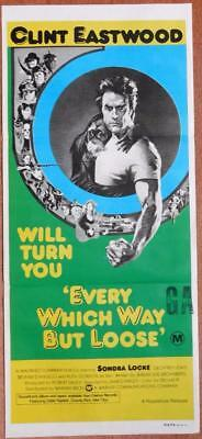 """""""every Which Way But Loose"""" Clint Eastwood Original American 1978 Movie Poster"""