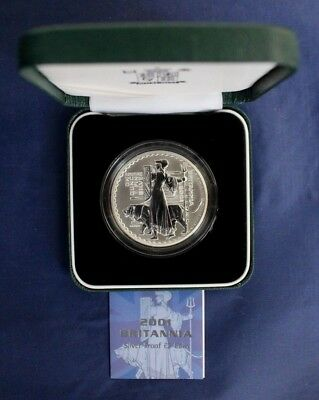 2001 Royal Mint 1oz Silver Proof Britannia £2 coin in Case with COA   (H6/20)