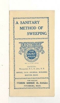 c1915 Dustbane 4 Page Advertising Pamphlet – Fitchburg Hardware, MA
