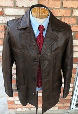 Vtg 70s Sears Leather Shop Men's 38 Glove Leather Jacket U-Boat Fight Club Small