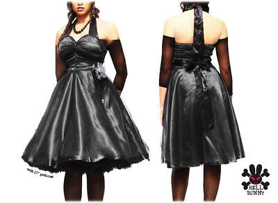 Hell Bunny Black Gothic Fairy Tale Prom Party Evening 50s Style Swing Dress 8 XS