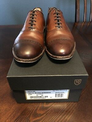 Lightly Used! Allen Edmonds Fifth Avenue 10.5 D Dk Chili Burnished + Shoe Trees