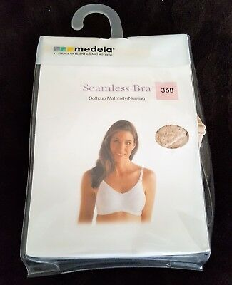 Medela Seamless Softcup Breast Feeding Maternity Nursing Bra 36B Nude Color