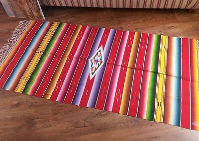 vintage mexican saltillo mexican mid centuary hand woven throw / wall hanging