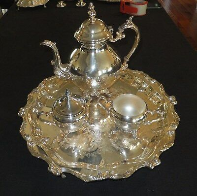 F B Rogers vintage silver on copper 4pc plated coffee / tea set  [652]