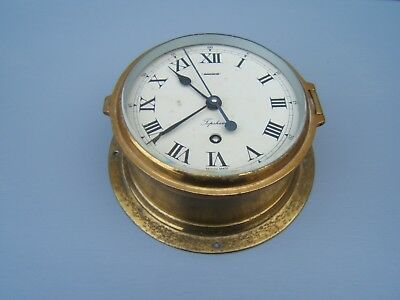 Ships brass bulkhead clock Topsham British made working with key