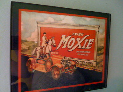 Moxie Cola Horse Driver Soda Fountain Diner Framed Print Man Cave Sign