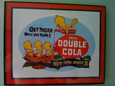Double Cola Birds Soda Fountain Diner Framed Advertising Print Man Cave Sign