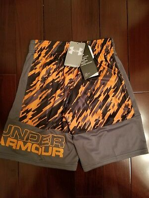 Under Armour UA BOYS Youth Stunt Printed Shorts Orang Black Print 1299998 870 SM