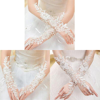 Crystal White Lace Bridal Glove Wedding Party Pageant Long Gloves Fingerless M&C