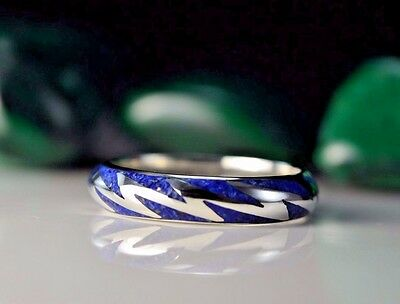 Sterling silver Lightning ring w/ crushed Lapis Lazuli stone inlay S ~ 6.5 to 15