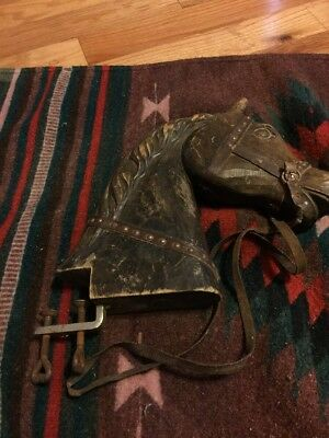 Antique Child Barber Chair Wood Horse Head Vintage