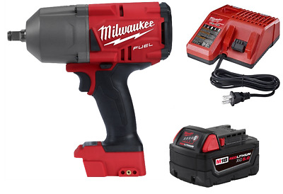 "Milwaukee 2767-20 M18 FUEL ½"" Impact Wrench 1400lbs + (1) 5.0 Batt (1) Charger"