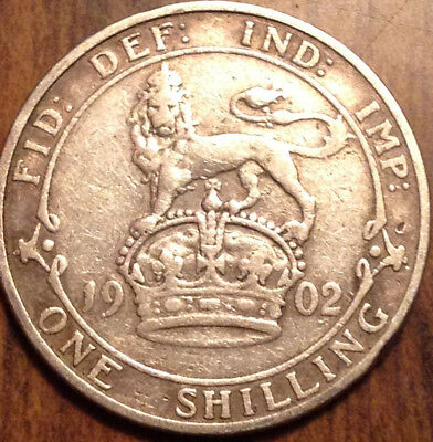 1902 United Kingdom One Silver Shilling In Very Nice Condition