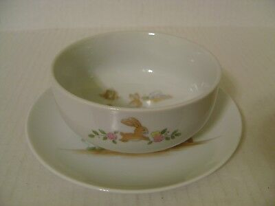 Vintage Childs Bowl And Plate Mother And Son Bunny Rabbits At Stove Made Japan