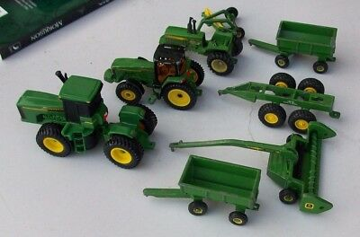 Lot of 8 ERTL John DEERE Die-cast Toy Tractors Farm Equipment