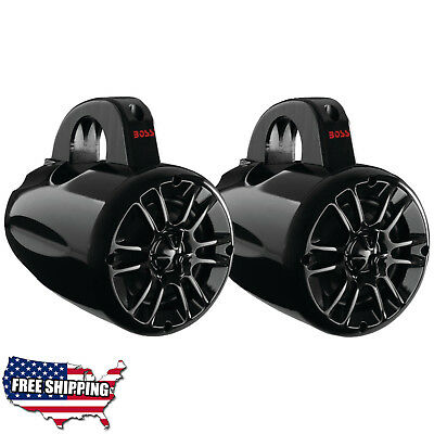 Pair Tower Speakers Wakeboard Marine Boss Audio System Waketower Speaker Grade