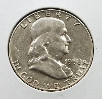 1958-D Franklin Half Dollar Silver Coin - Circulated - Denver Mint - #f02