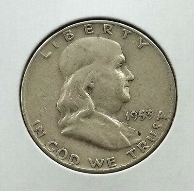 1953-D Franklin Half Dollar Silver Coin - Circulated - Denver Mint - #f03