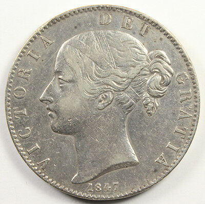 1847 GREAT BRITAIN SILVER CROWN Higher Grade VICTORIA YOUNG HEAD KM-741