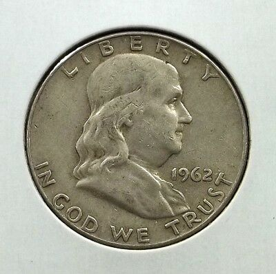 1962-D Franklin Half Dollar Silver Coin - Circulated - Denver Mint - #f07