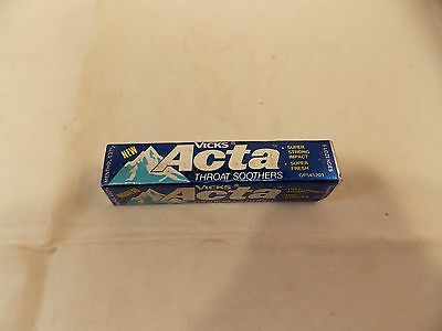 Vtg Pack of Vicks Acta Throat Soothers, 9 Lozenges, For Display Only