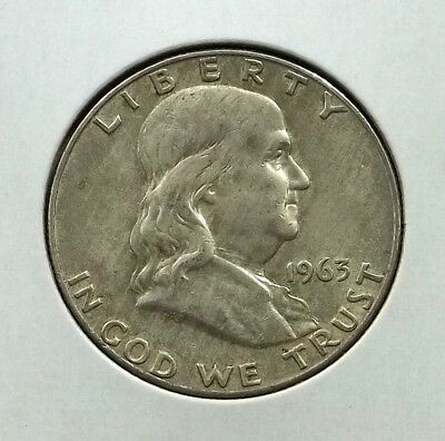 1963-D Franklin Half Dollar Silver Coin - Circulated - Denver Mint - #f08
