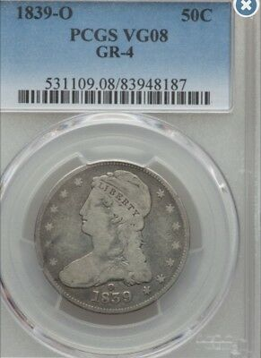 1839-O Capped Bust Half Dollar. Rare Gr-4. 180 Degree Rotated Rev Pcgs. 1 Higher