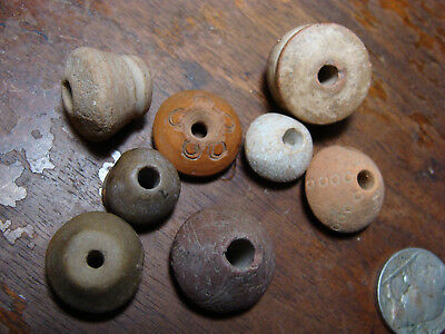 Lot of 8 ANCIENT PRE-COLUMBIAN MOCHE- CHIMU SPINDLE WHORL BEADS PERU 100BC-1430A