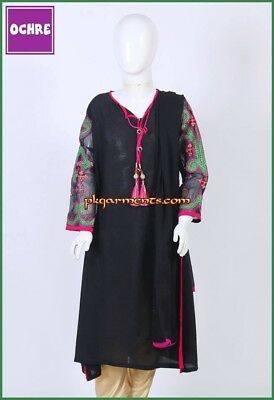 NWT Oochre Kids Black Embroidered Kurta Sz medium 13/14 Yrs