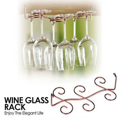 Iron-art Spiral Red Wine Glass Cup Rack Drain Hanging Six Cups Holder