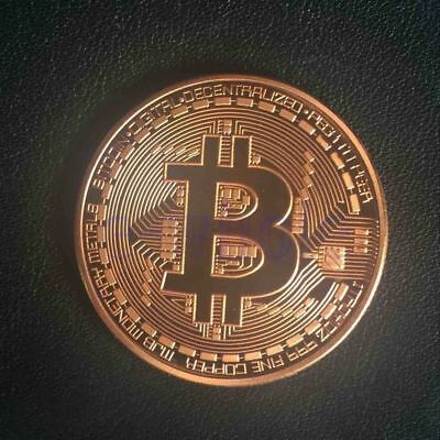 BITCOIN! Copper Plated Physical Bitcoin in protective acrylic case FAST SHIPPING