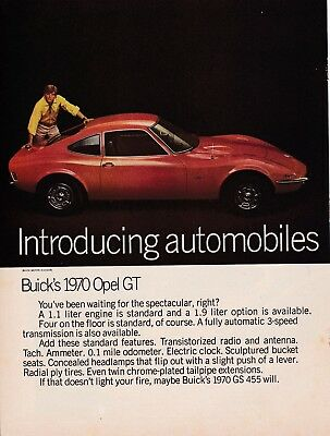 1970 Opel GT & Buick GS 455 Stage 1, Sharp 2-Page, 16.5x11 inch USA Magazine Ad