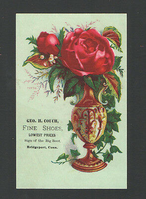 1884 Victorian Tradecard Geo H couch FINE SHOES Bridgeport, Conn. Vase Roses