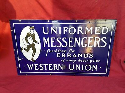 Western Union Sign Porcelain Double Sided Bicycle Rack Sign Rare