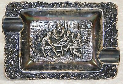 VTG Repousse Men Drinking Gambling Silver Plate Ashtray Tray