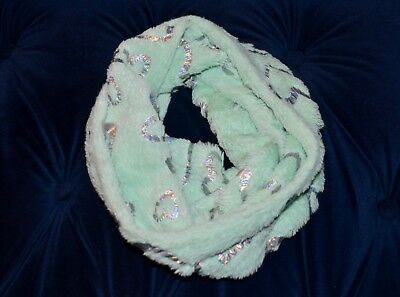 Justice Girls Infinity Scarf Mint Green with Silver Hearts