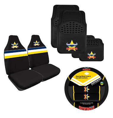 North Qld Cowboys NRL Licensed Seat Covers Floor Mats Steering Wheel Cover Set