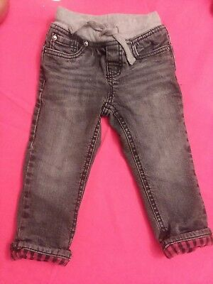 CAT AND JACK FLANNEL LINED JEANS SIZE 2T*straight leg *Gray Drawstring Waist