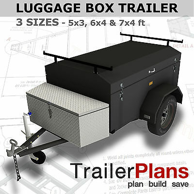 Trailer Plans - ENCLOSED LUGGAGE TRAILER - PLANS ON USB - Trailer Build