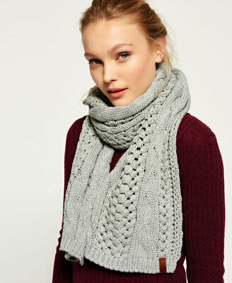 New Womens Superdry North Cable Scarf Grey Sparkle