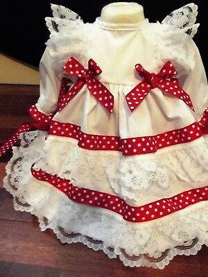 Dream Newborn Romany Spanish Spots & Lace Lined Netted Dress  Or Reborn 17-19