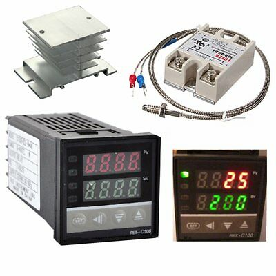 Digital PID Temperature Controller 40A SSR K Probe Thermocouple Sensor Heat Sink