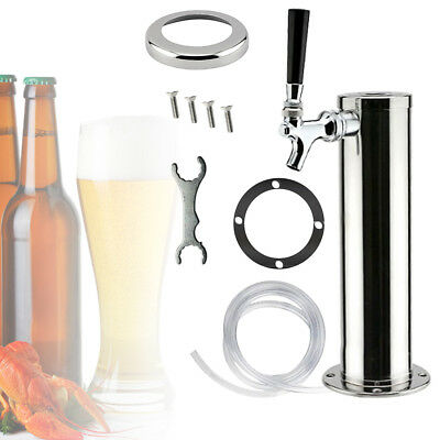 Stainless Steel Single Tap Draft Beer Tower Homebrew Kegerator Chrome Faucets